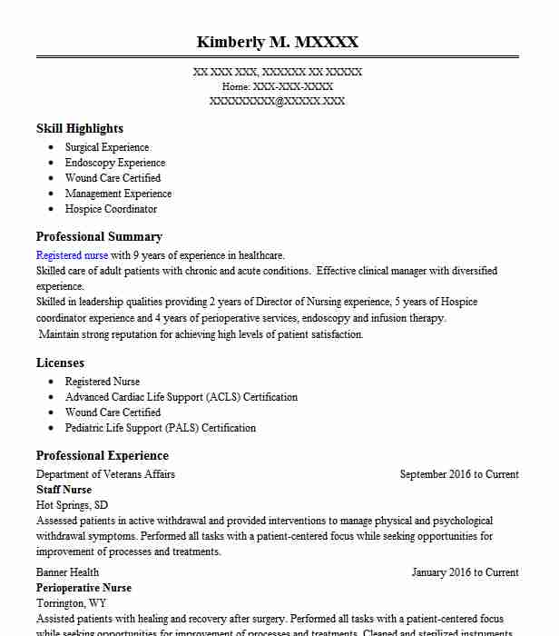 Medical Surgical Nurse Resume Sample: Best Perioperative Nurse Resume Example