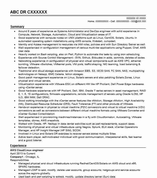 aws devops engineer resume example capital one