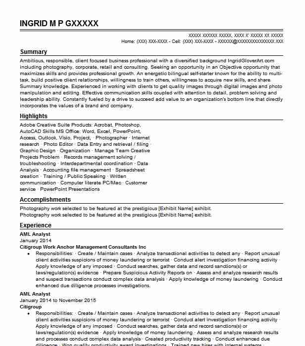 aml analyst resume sample