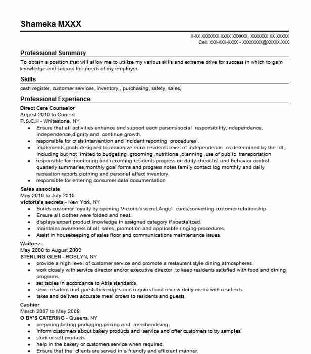 Direct Care Counselor Resume Sample