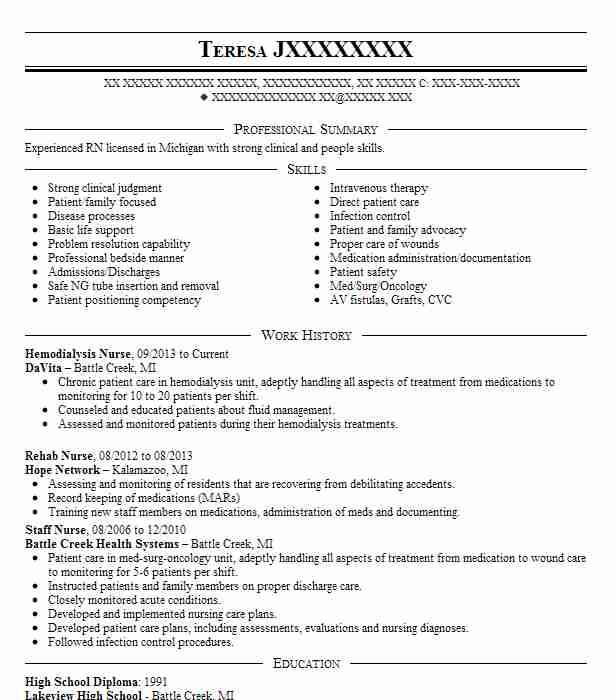 Hemodialysis Nurse Resume Sample Nursing Resumes