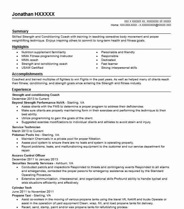 Strength And Conditioning Coach Resume Sample