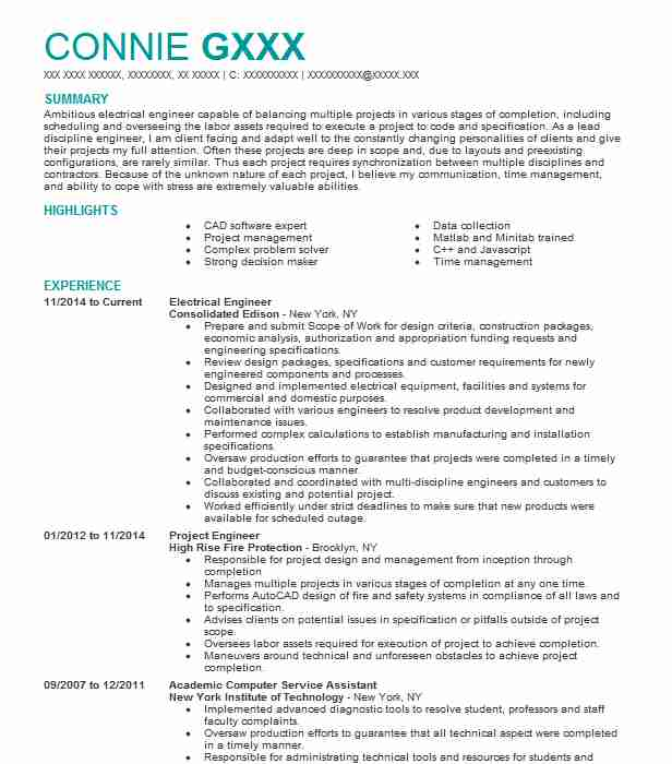 Electrical Engineer Resume Sample | Resumes Misc | LiveCareer