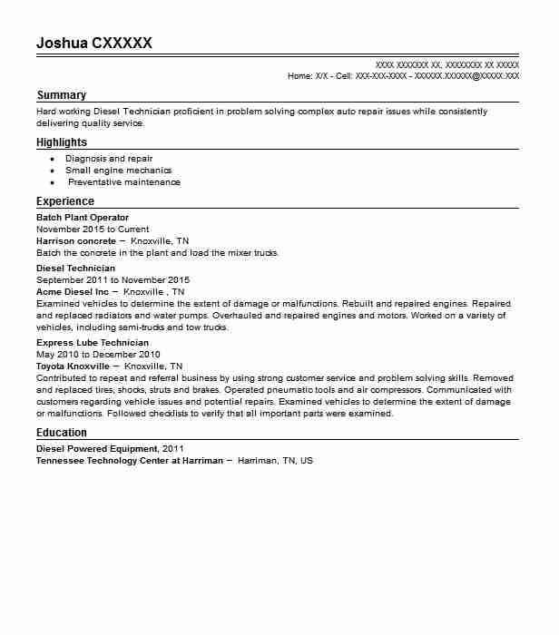 Batch Plant Operator Resume Sample