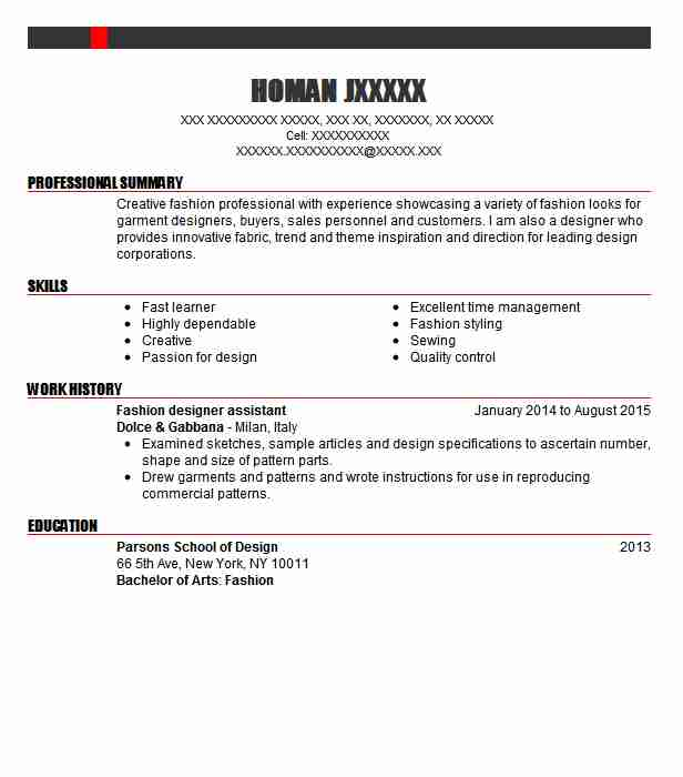 Fashion Designer Assistant Resume Example Hms Design Co Glendale California