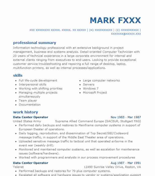 data center resume