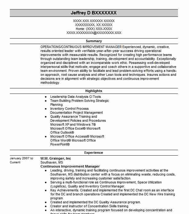 Continuous Improvement Manager Resume Example Wonderful