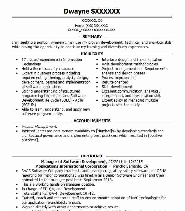 software development manager resume example amazon com
