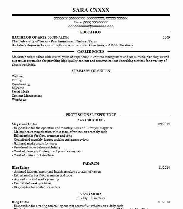 Magazine Editor Resume Sample | Editor Resumes | LiveCareer