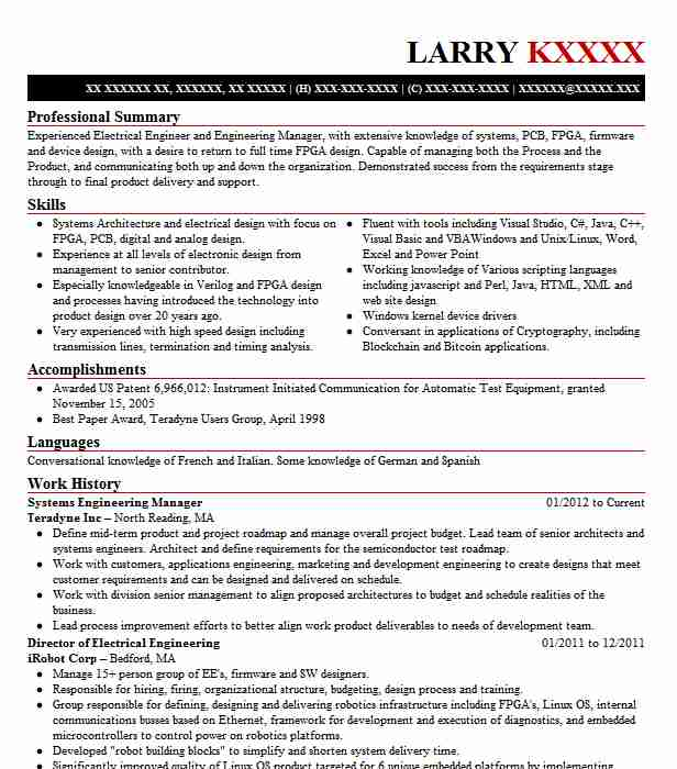 Wireless Engineer Sample Resume: Systems Engineering Manager Resume Sample