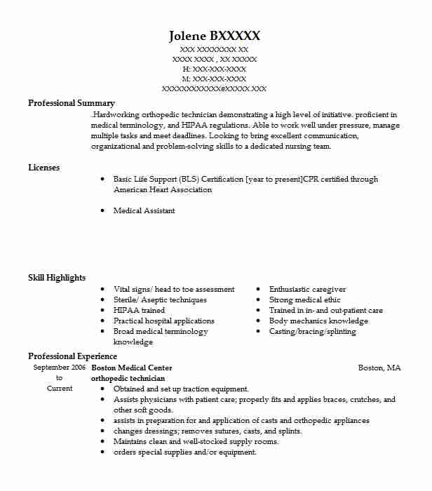 orthopedic technician resume sample