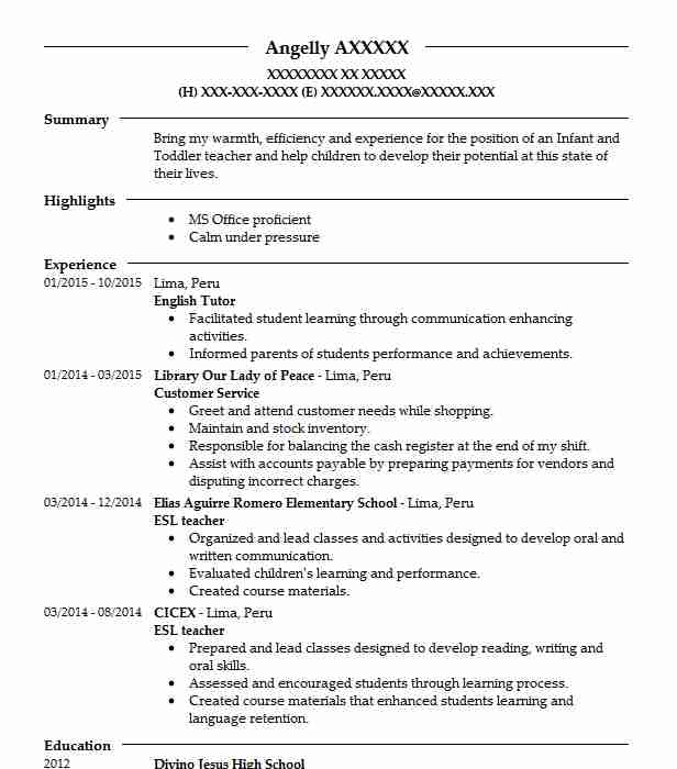 english tutor resume sample tutor resumes livecareer