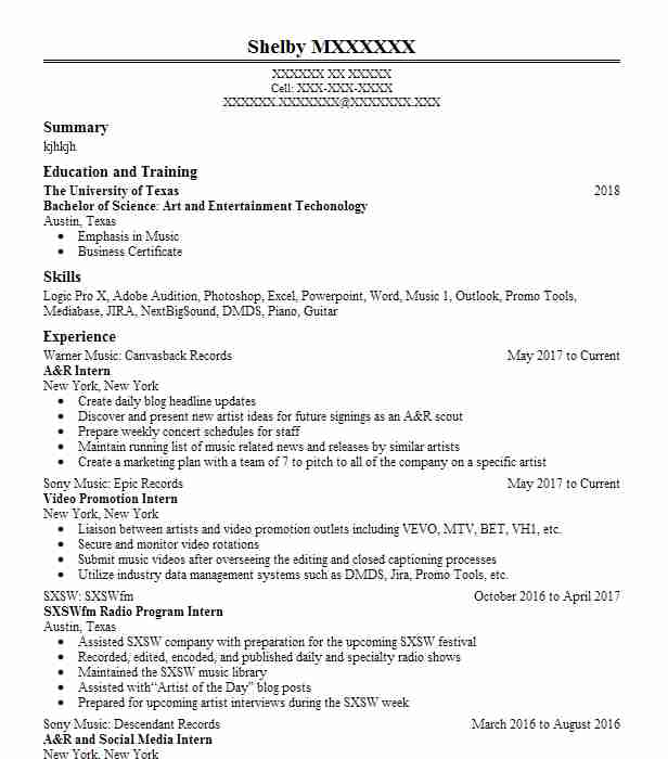 Drum Teacher Resume Example Music Tech