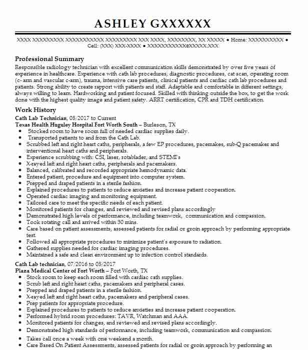cath lab technician resume sample