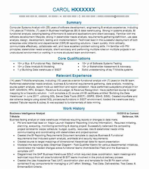 business intelligence analyst objectives