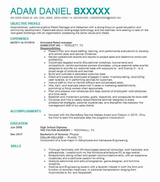 Assistant Retail Manager Resume Sample | Manager Resumes | LiveCareer