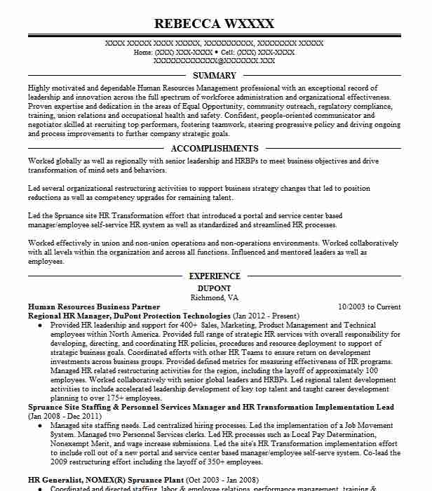 Sr  Human Resources Business Partner Resume Example The