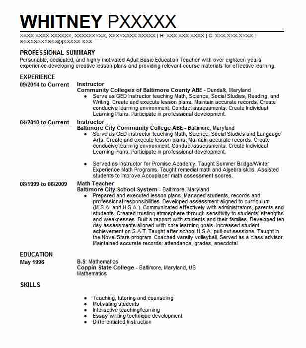 1973 adult literacy resume examples