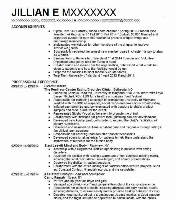 dietetic internship resume example medical college of virginia hospital