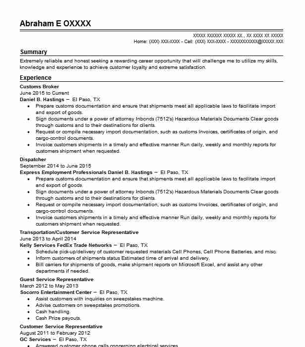 Customs Broker Resume Sample | Broker Resumes | LiveCareer