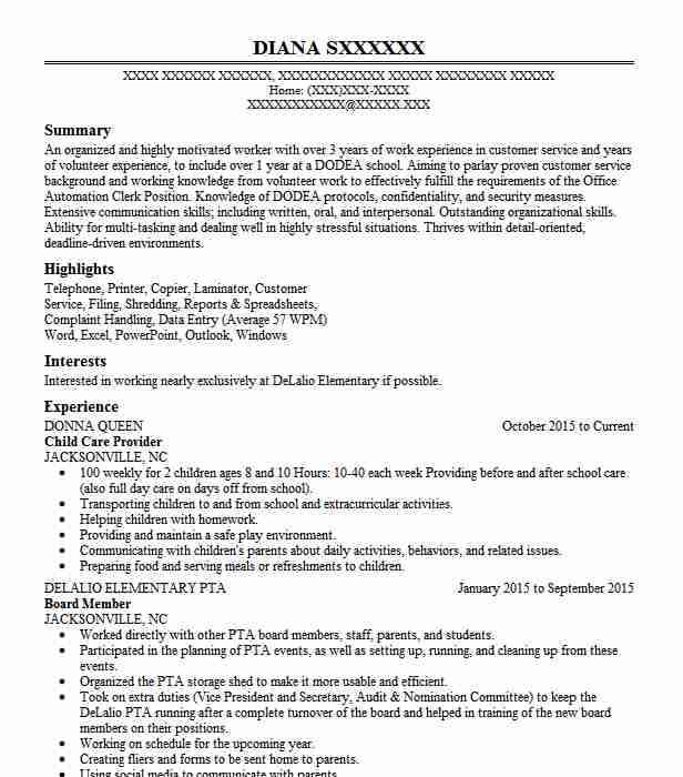 Child Care Provider Resume Sample Caregiver Resumes