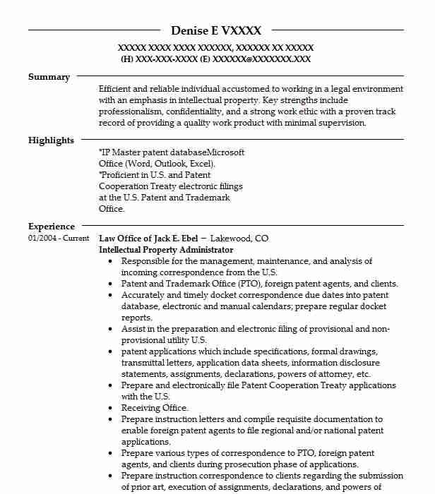 intellectual property administrator resume example law