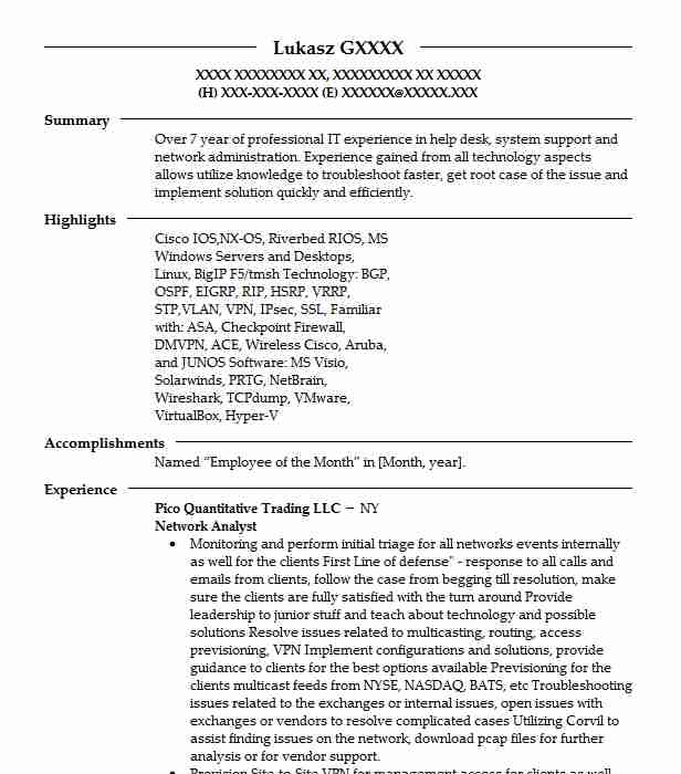 network analyst resume sample