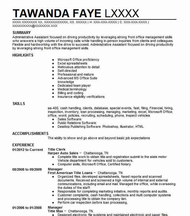 biller  title clerk resume example best auto outlet inc