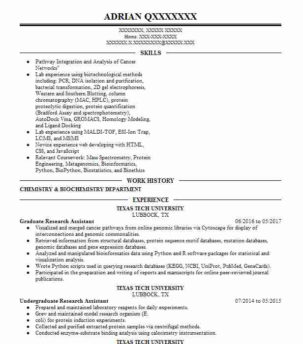 biotechnology resume examples science resumes livecareer