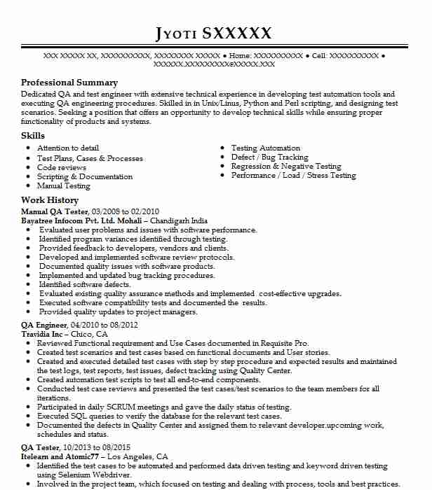 Manual Qa Tester Resume Sample
