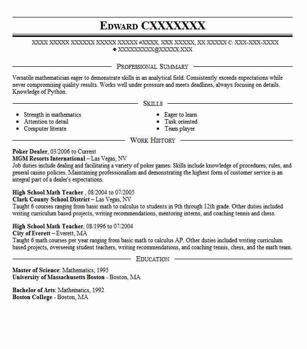 poker dealer resume example bellagio hotel and casino