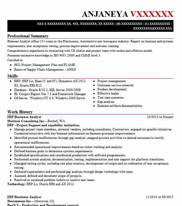 erp business analyst resume sample