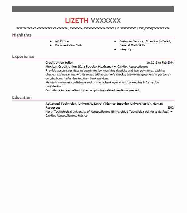 credit union teller resume sample