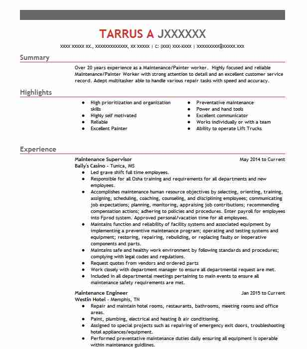 Maintenance Supervisor Resume Sample | Technician Resumes