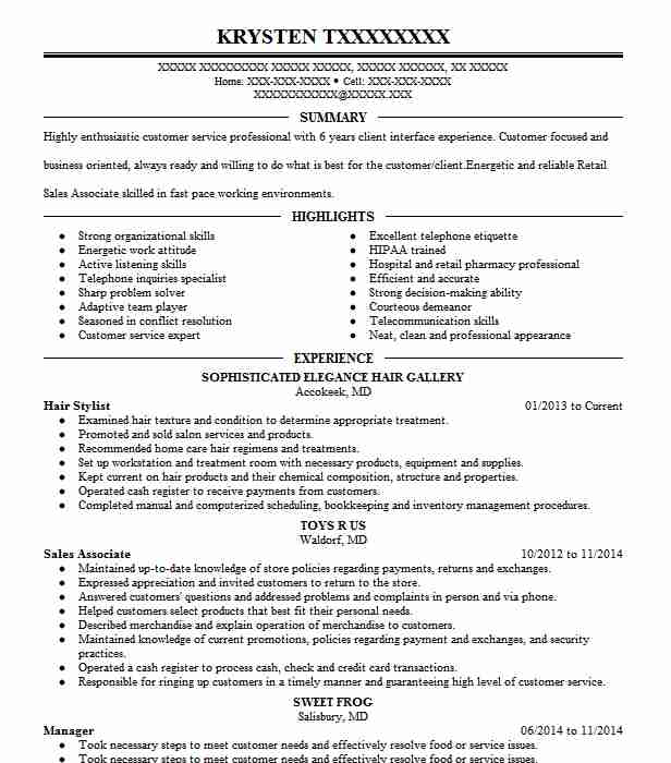 Hair Stylist Resume Objectives Resume Sample Livecareer