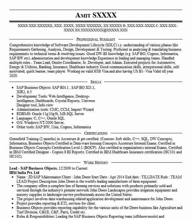 sap business objects developer resume example american