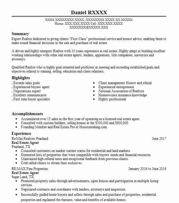 23717 real estate resume examples samples livecareer