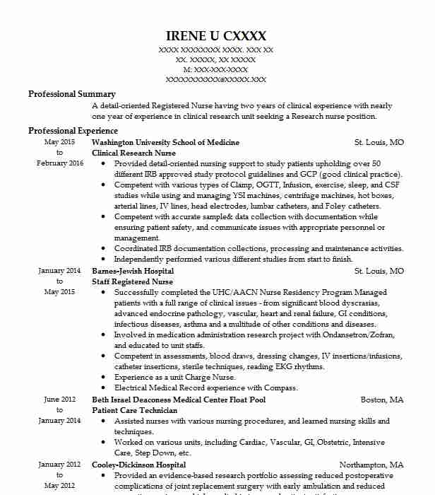 clinical research nurse resume sample
