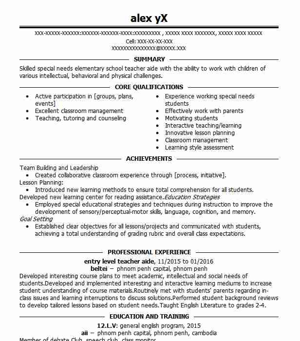 Entry Level Teacher Aide Resume Sample Livecareer