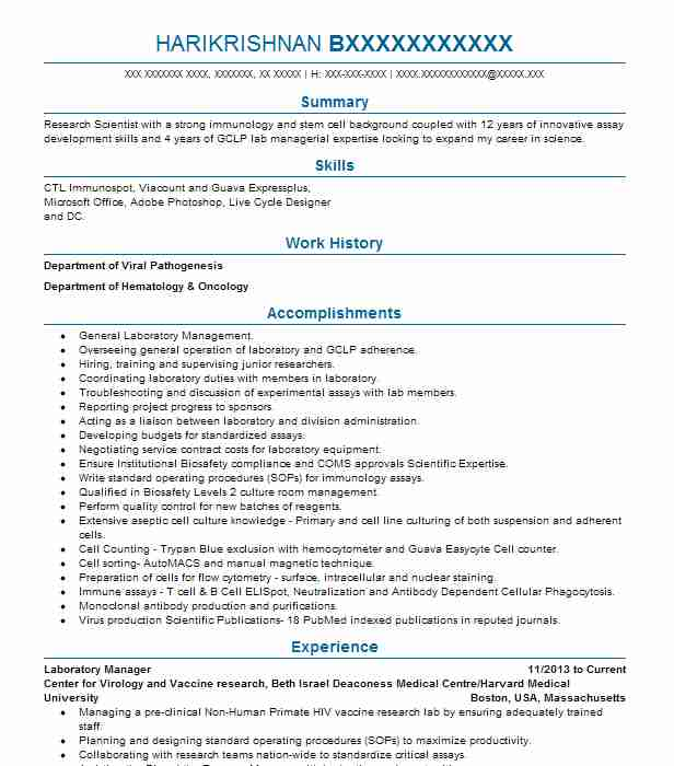 1263 Management Resume Examples | Science Resumes | LiveCareer
