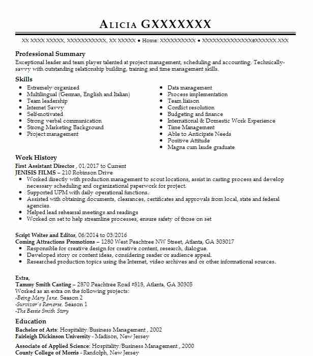 First Assistant Director Resume Sample | Director Resumes | LiveCareer