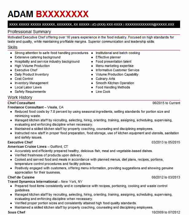 Chef Objective Resume: Chef Consultant Resume Sample