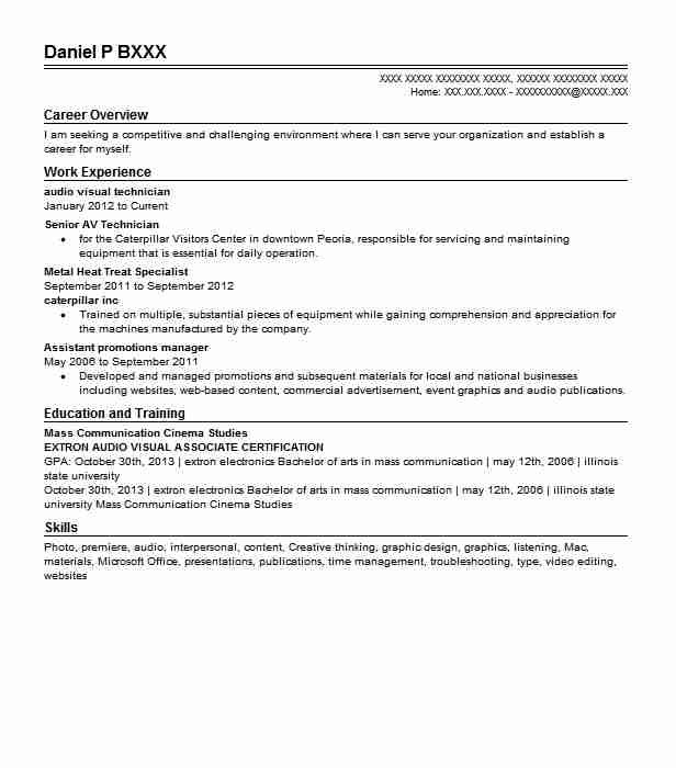 audio visual technician resume sample
