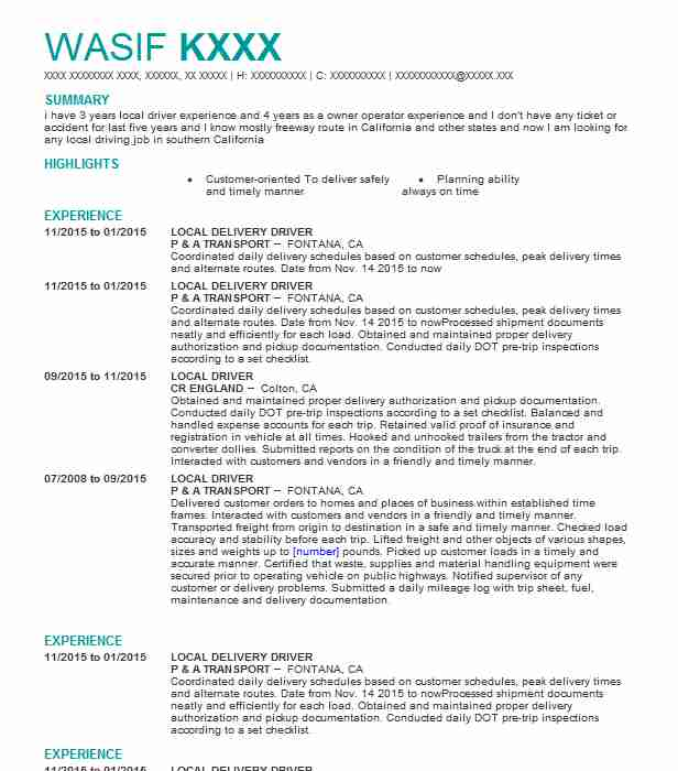 local delivery driver resume sample