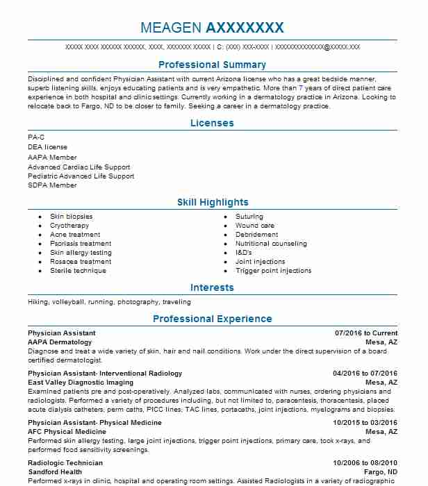 Physician Assistant Resume Example AAPA Dermatology Mesa Arizona