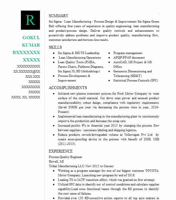 process quality engineer resume example streamline