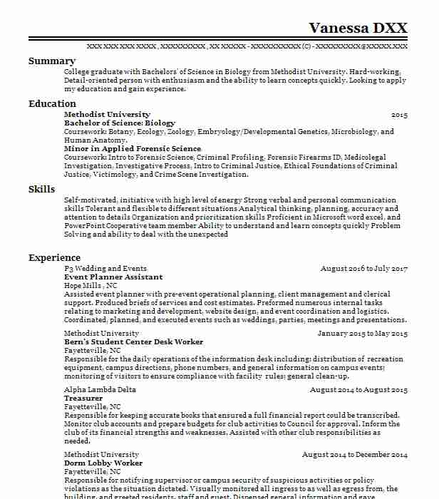 event planner assistant - Forensic Science Student Resume