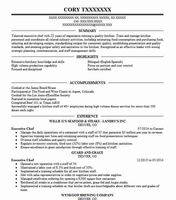 executive chef resume example just foof catering