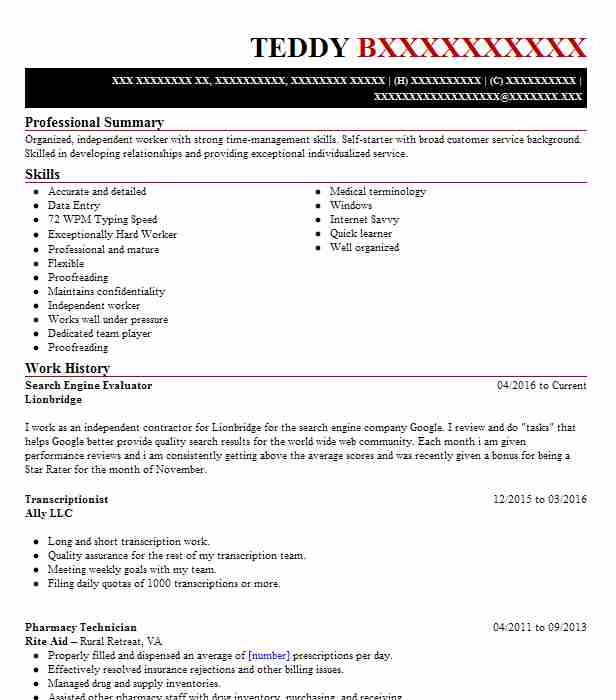 search engine evaluator resume example leapforce inc