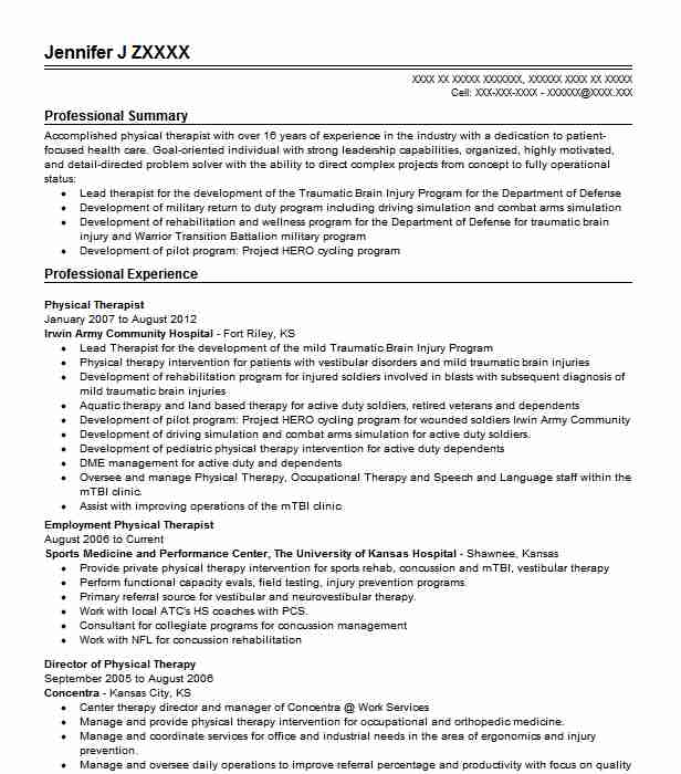 best physical therapist resume example